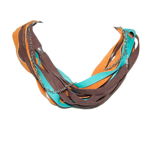 Teal, Orange and Brown Leather Scarf Necklace