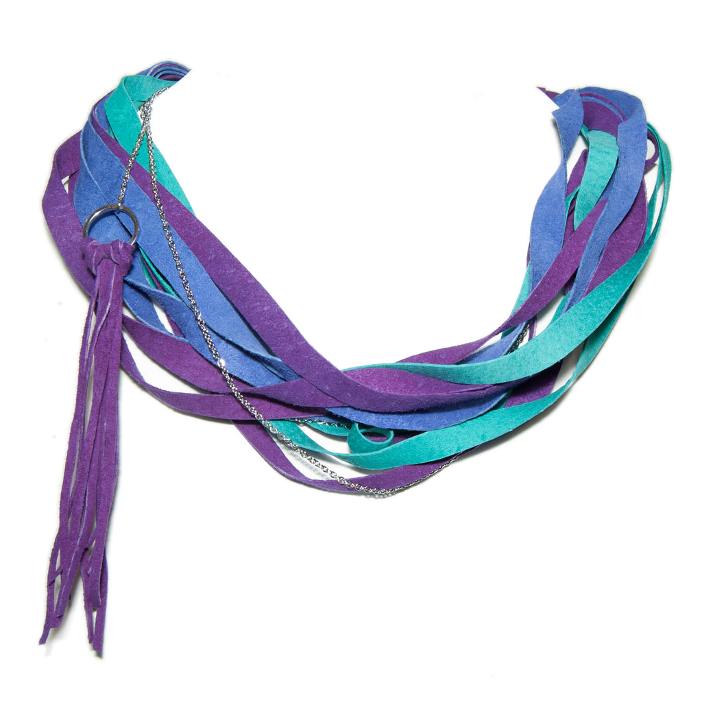 Teal, Blue and Purple Leather Scarf Necklace
