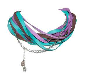 Purple, Brown And Teal Leather Scarf Necklace