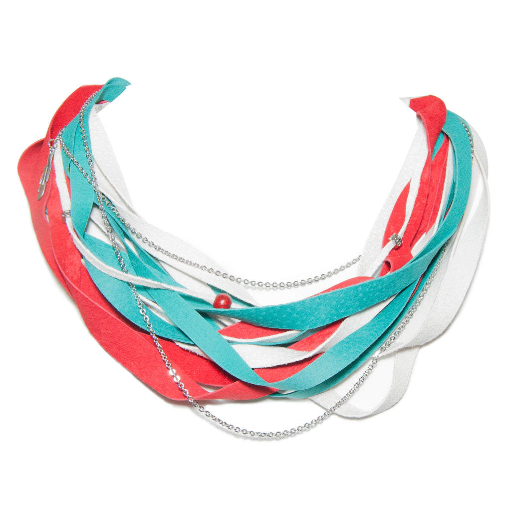 Teal, White and Red Leather Scarf Necklace