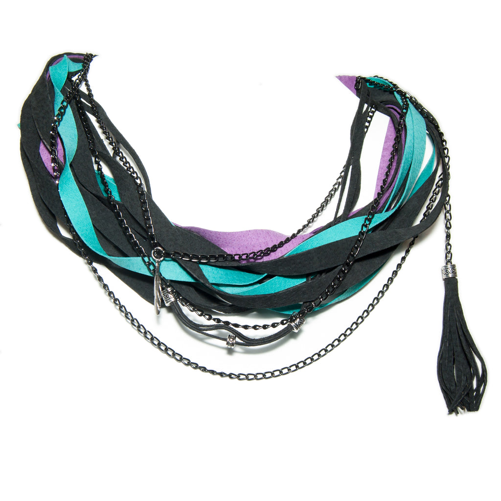 Black, Teal and Purple Leather Scarf Necklace