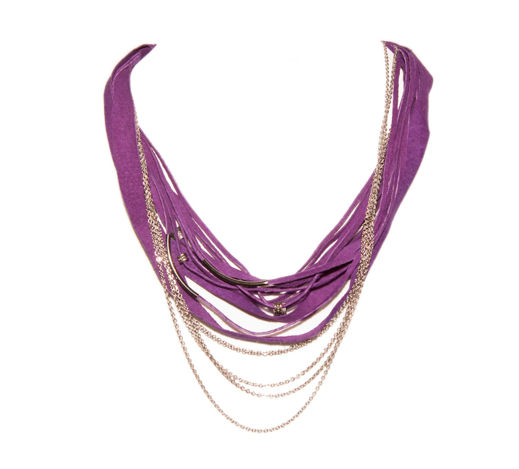 Purple Handmade Leather Necklace