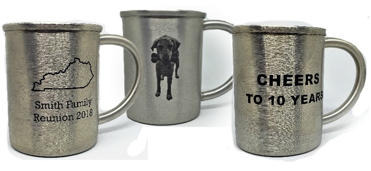 customized original tin metal mug cup for ten 10 year wedding anniversary with picture of a dog on it and state outline