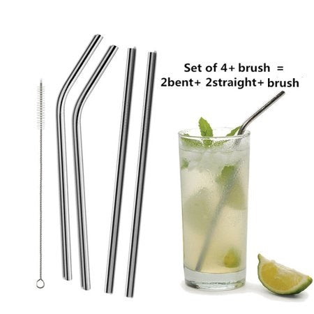 Stainless Steel Drinking Straws, Dishwasher Safe, Cleaning Brush Included