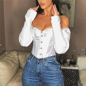 Off the Shoulder Fitted Bodice Long Sleeve Blouse