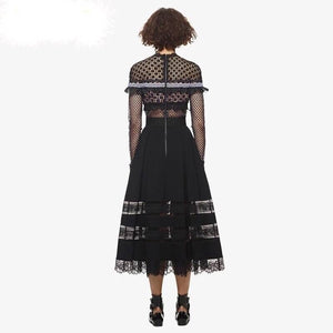 Laser Cut Detail Long Sleeve Midi