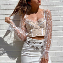 Sweetheart Bodice Sheer Sleeve Crop Top
