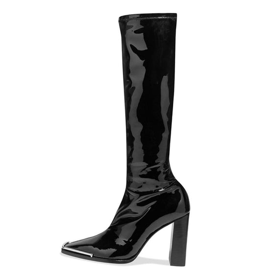 Patent Leather Tall Heeled Boots