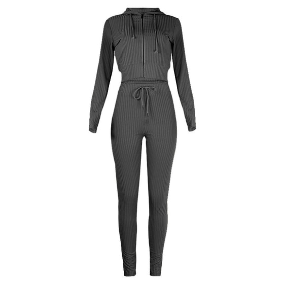 Ribbed Knitted Zip Up Crop Jacket and Sweats Set