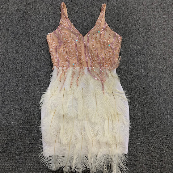 Sequin Bodice Feather Skirt Mini Dress