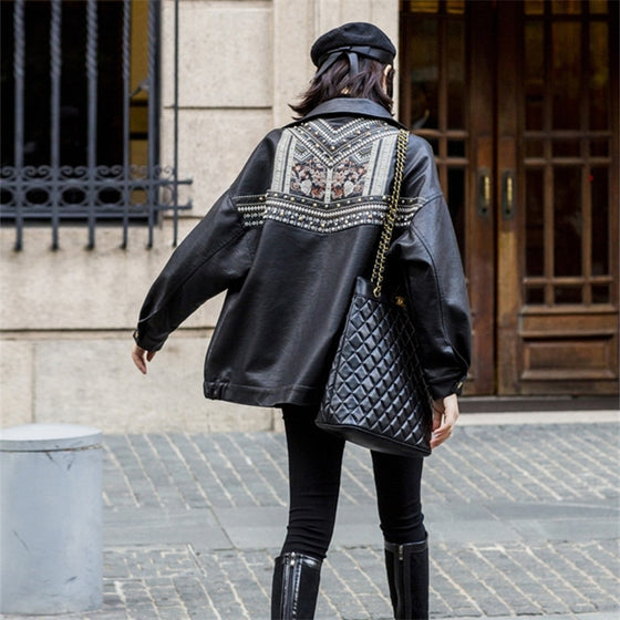 Black Faux-Leather Embroidered and Stud Back Jacket