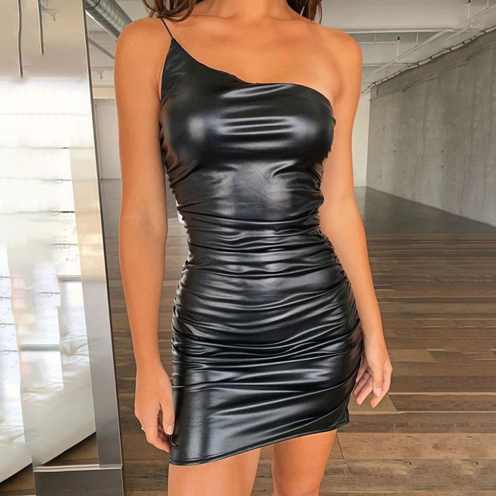 PU One Shoulder Mini Dress