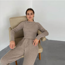 Ribbed Crew Neck Long Sleeve Top and Sweats Set