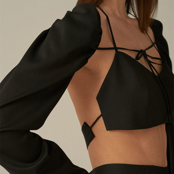 Square Collar Open Back Cropped Blouse