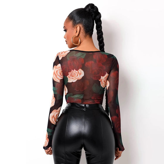 Rose Décor Bustier Bodysuit