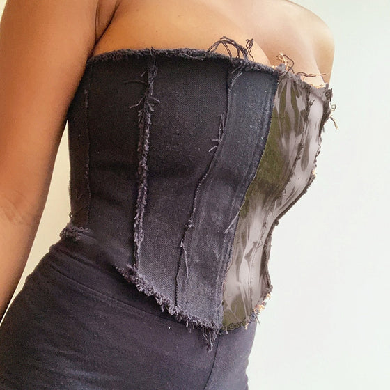 Mixed Media Lace Up Back Tube Top