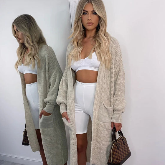 Knitted Long Length Cardigan Sweater