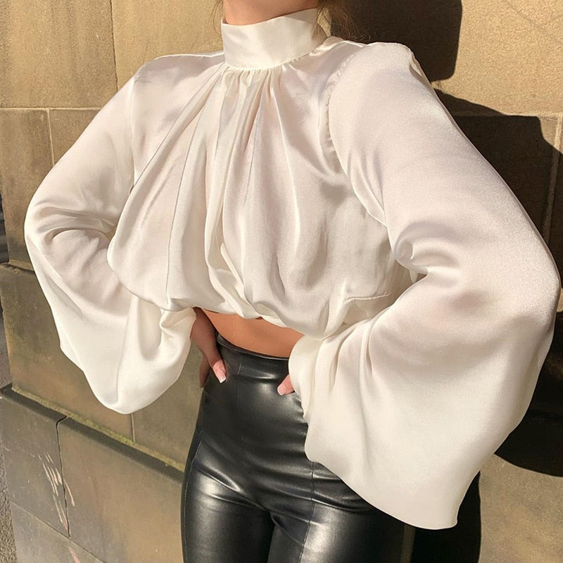Lantern Sleeve Cropped Blouse