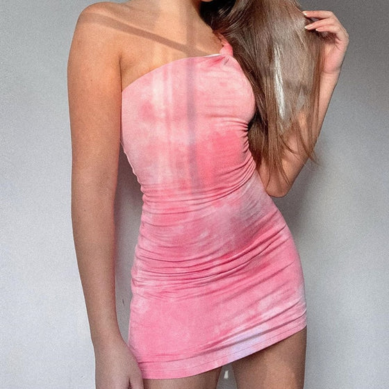 Tie-Dye Dress with One-Shoulder Strap