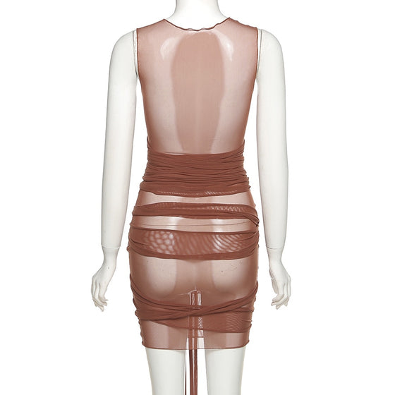 Brown Sheer Unfinished Mini Dress