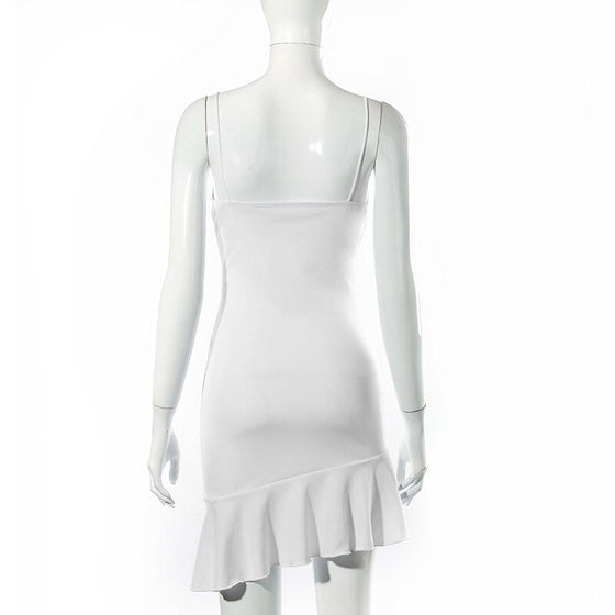 Ruffle Hem White Mini Dress