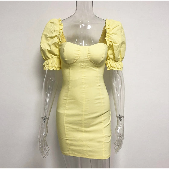 Puffy Sleeve Light Yellow Fitted Dress