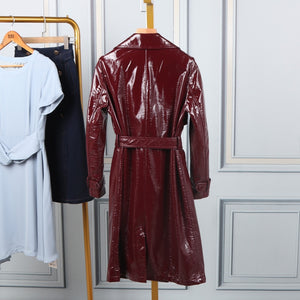 PU Leather Trench Coat