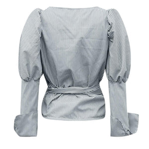 Gray and White Stripe Wrapped Puffy Sleeve Top