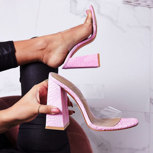PVC Double Strap Pink Snakeskin Mules