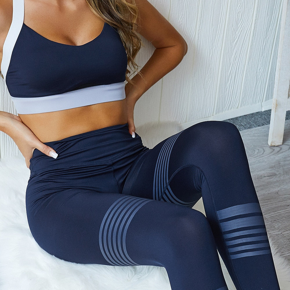 Navy Sports Bra and Leggings Set