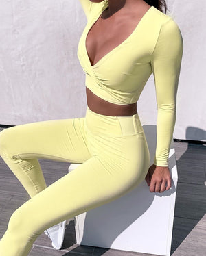 Twist Front Top and Leggings Set