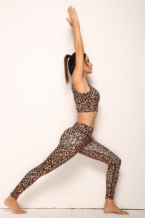 Leopard Print Sports Bra and Leggings Set