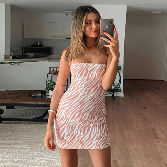 Taupe Zebra Print Spaghetti Strap Mini Dress