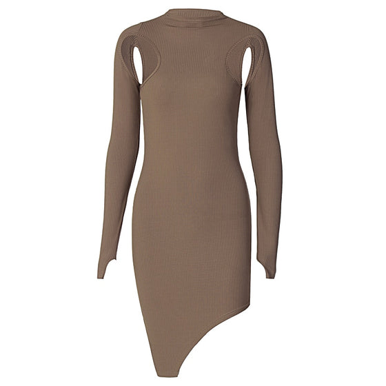 Ribbed Cutout Asymmetrical Mini Dress
