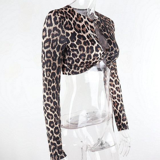Leopard Print Long Sleeve Cutout Crop Tee