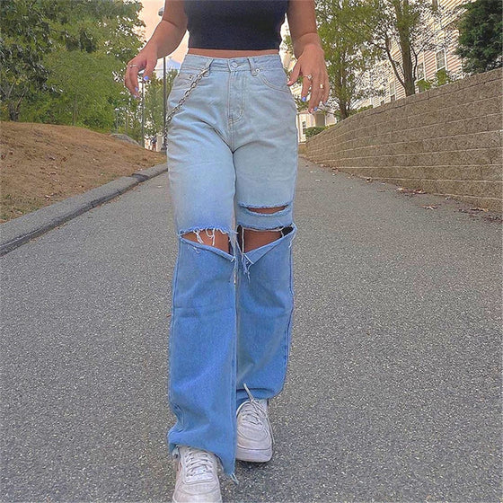 Ombre Blue Distressed Jeans