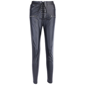 Lace Up PU High Waist Pants