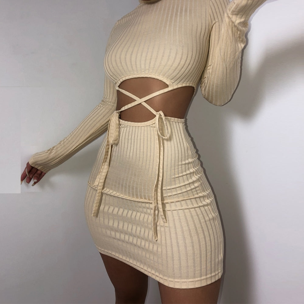 Ribbed Long Sleeve Tie Dress