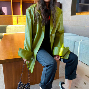 Oversized Button Up PU Jacket