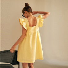 Square Collar Butterfly Sleeve Dress