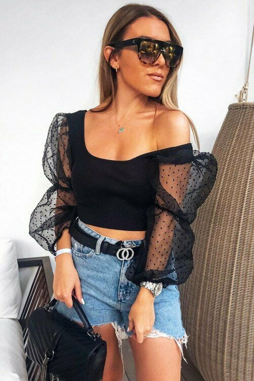 Sheer Puffy Sleeve Crop Top