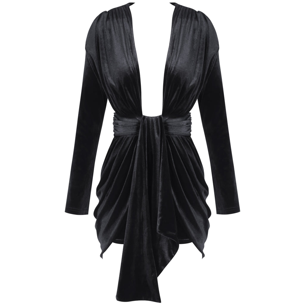 Black V Neck Drape Front Mini Dress