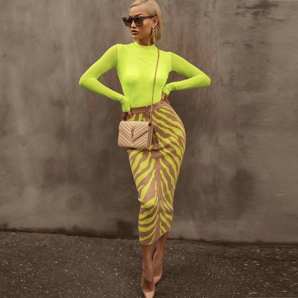 Neon Zebra Stripe Bodycon Midi Skirt