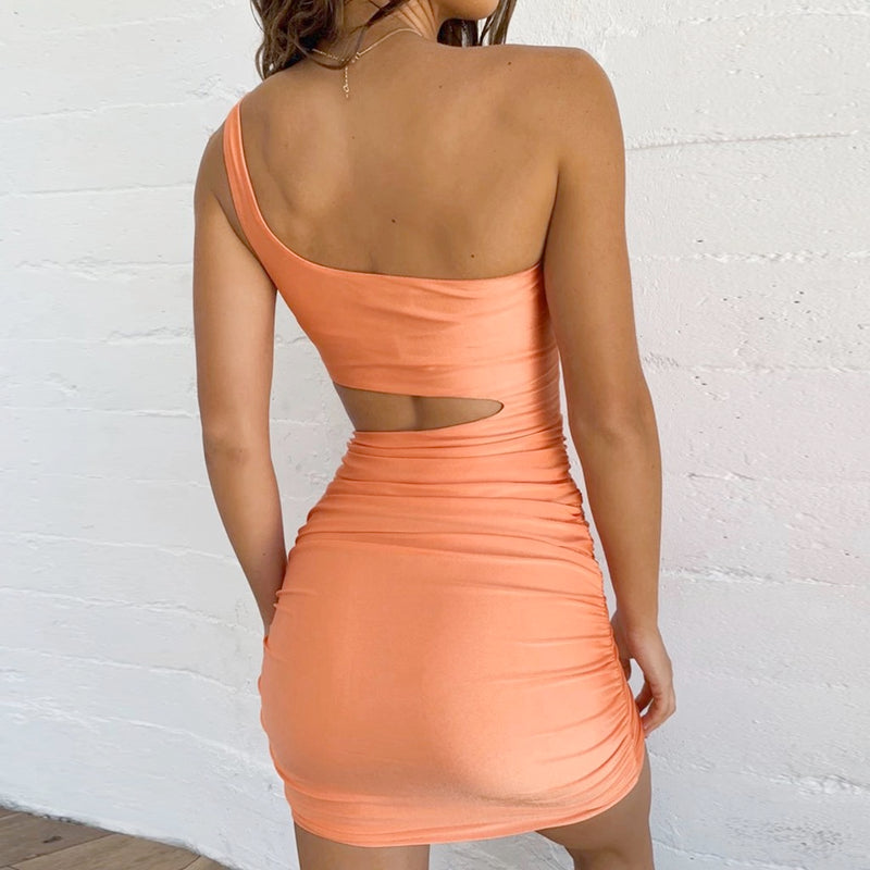 One Shoulder Cut Out Ruched Dress