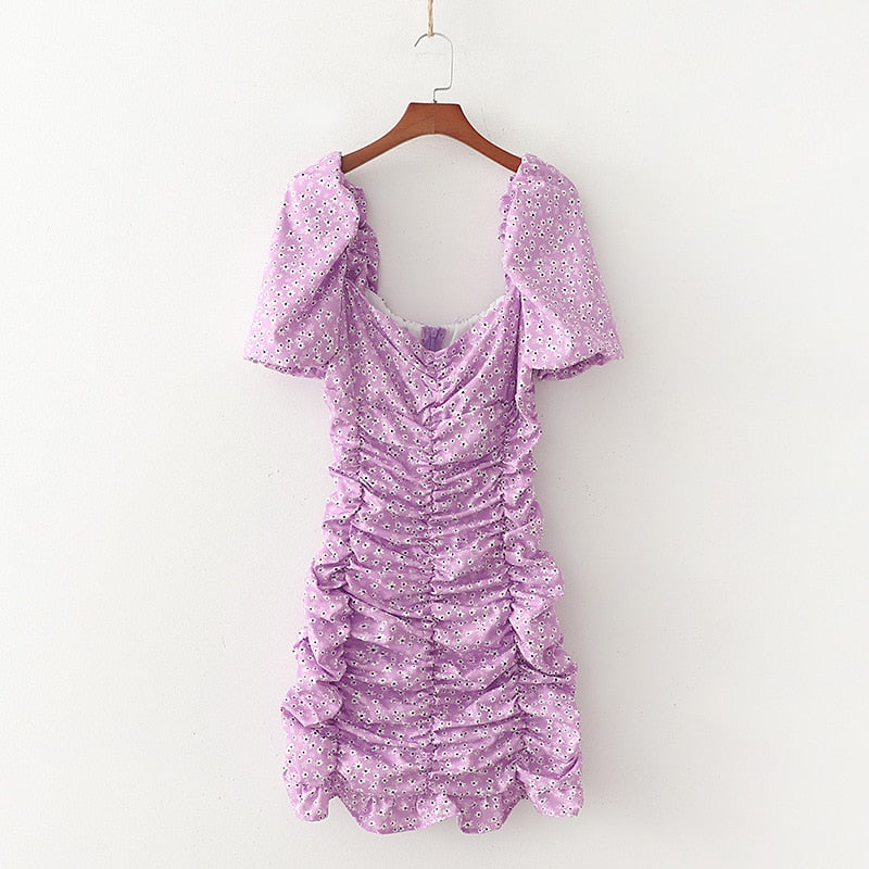 Light Purple Puff Sleeve Dress