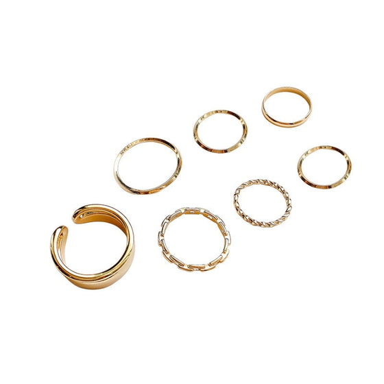 Minimalist Style Seven-Piece Ring Set