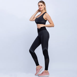 Stripe Accent Sports Bra and Leggings