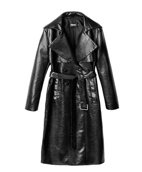 Faux-Leather Croc Print Coat