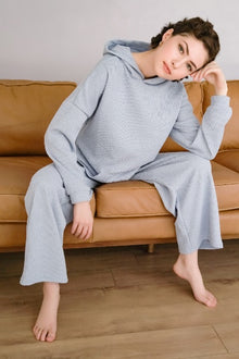 Rib-Knit Hoodie and Sweatpants Set