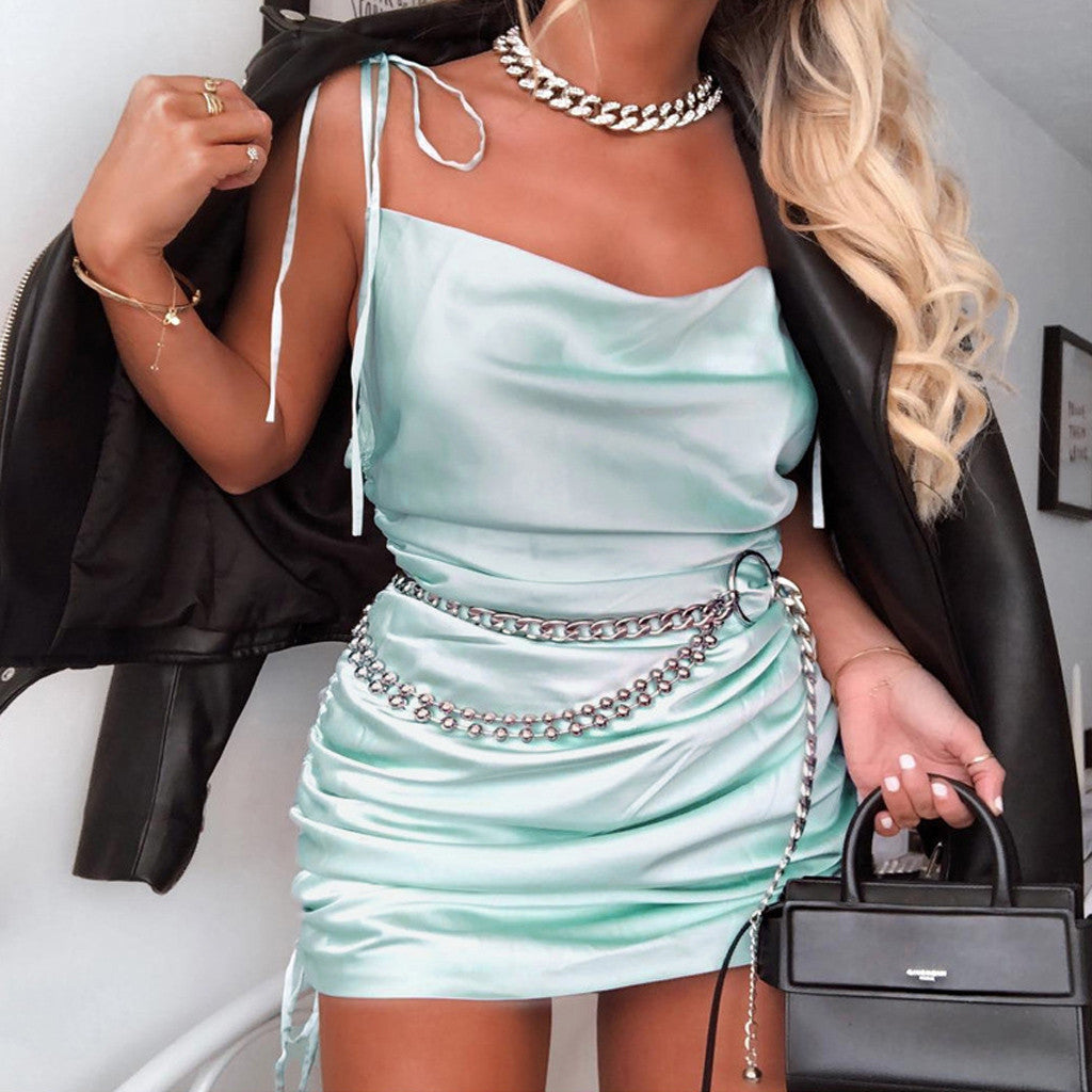 Mint Green Ruched Satin Mini Dress